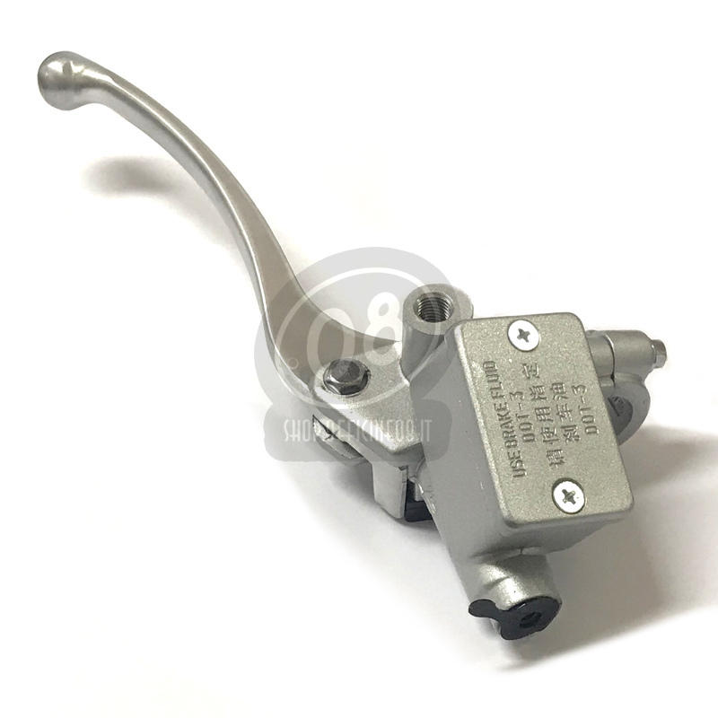 Pompa freno anteriore Honda Replica 14mm serbatoio integrato angolato grigio - Foto 3