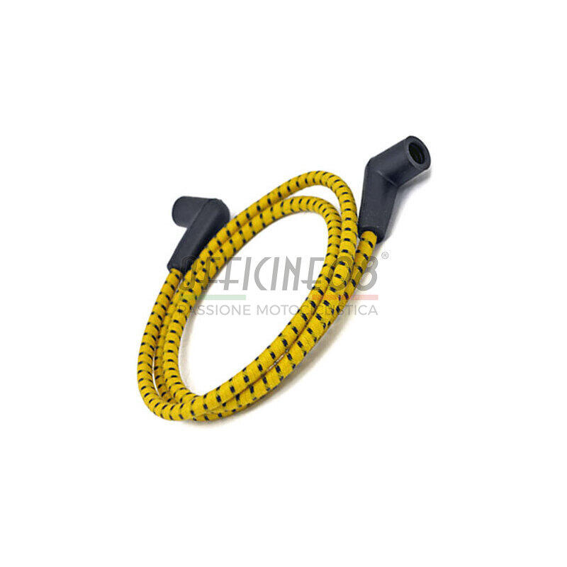 Ignition lead cable 7mm cotton braided kit yellow/black
