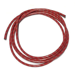 Ignition lead cable 7mm cotton braided red/white covered