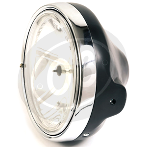 Halogen headlight 7'' Lucas clear lens black polish rim chrome