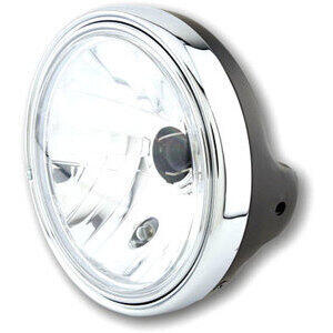 Halogen headlight 7'' Lucas clear lens black polish rim chrome