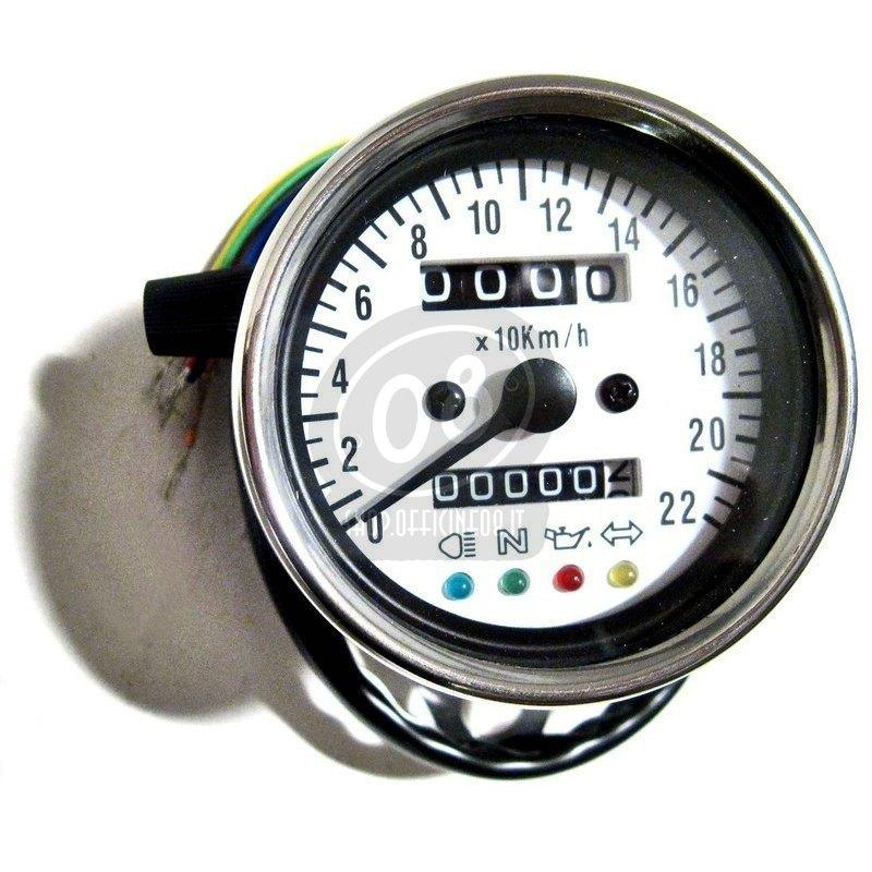 Mechanical speedometer Classic K=1.4 control lights body chrome dial white - Pictures 3