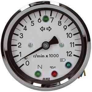 Electronic tachometer MMB Old Style 12K 1:1 control lights body chrome dial white