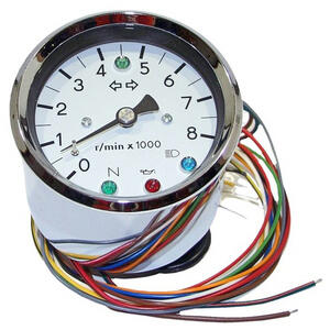 Electronic tachometer MMB Old Style 8K 1:1 control lights body chrome dial white