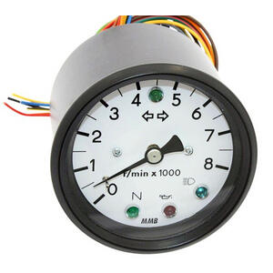 Electronic tachometer MMB Old Style 8K 1:1 control lights body black dial white