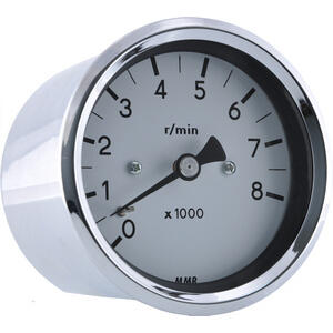 Electronic tachometer MMB Old Style 8K 1:1 body chrome dial white