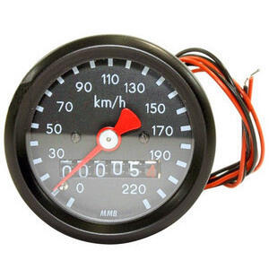 Mechanical speedometer MMB Classic mini K=1 M16 body black dial black pointer red