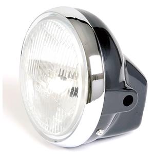 Halogen headlight 6'' Honda CB 400 N Replica black rim chrome