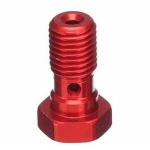 Bullone forato M10x1 singolo testa piatta alluminio rosso