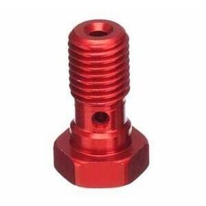 Bullone forato M10x1.25 singolo testa piatta alluminio rosso