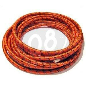 Ignition lead cable 7mm cotton braided orange/black