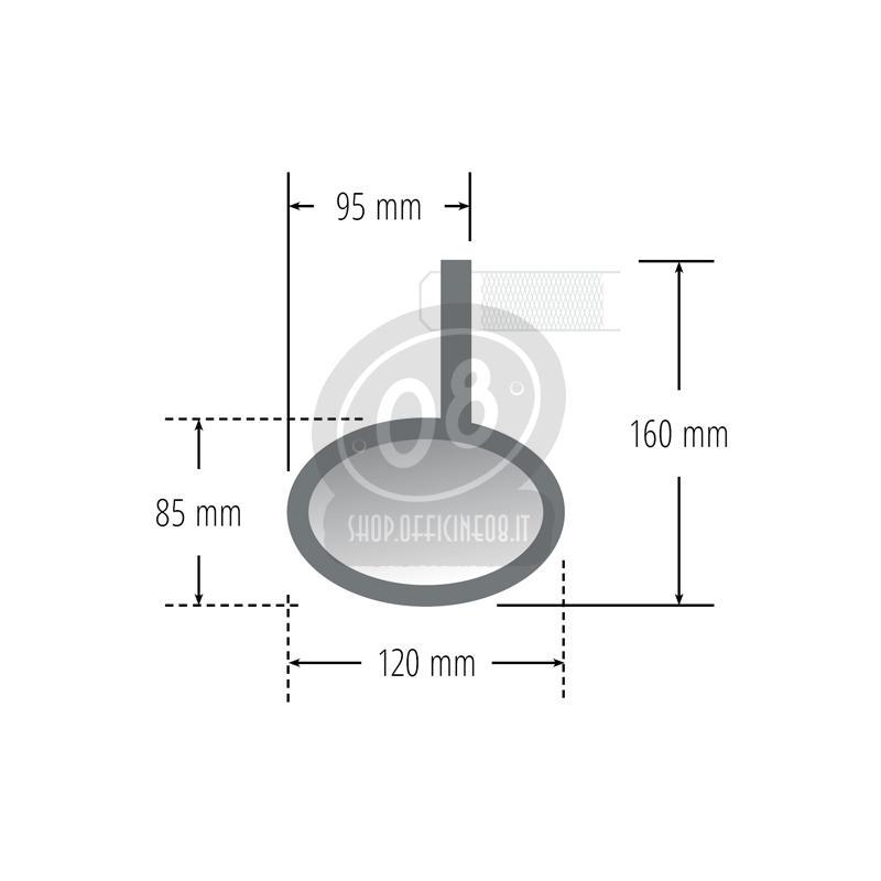 Specchietto retrovisore bar-end Highsider Oval cromo - Foto 3