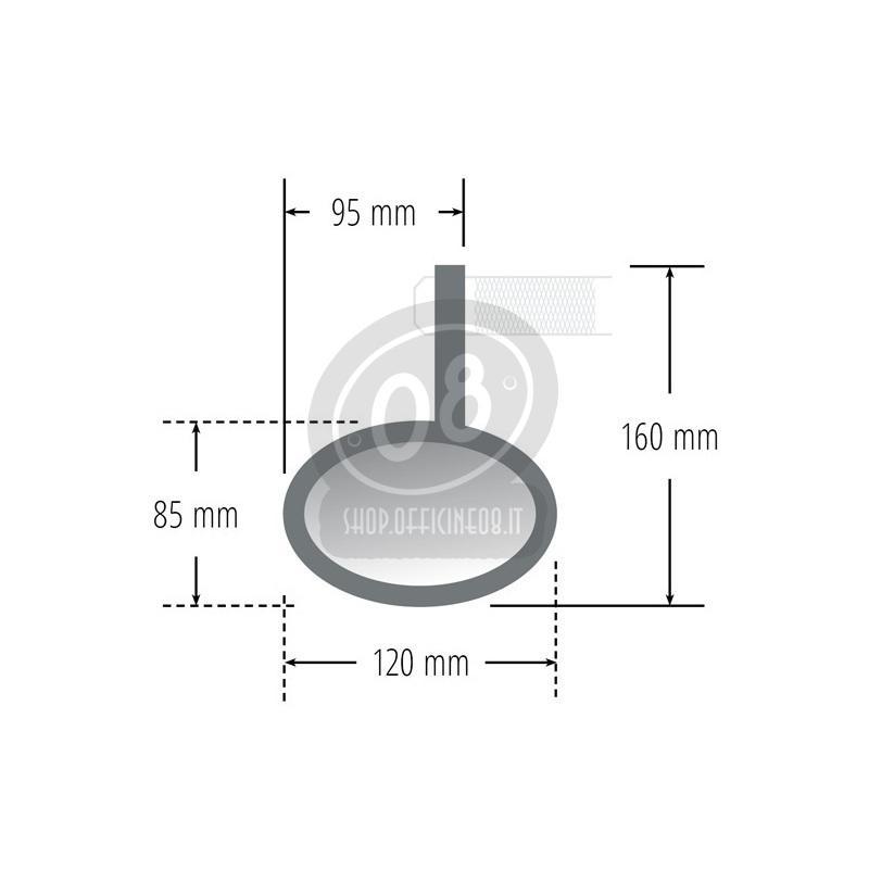 Specchietto retrovisore bar-end Highsider Oval nero - Foto 3