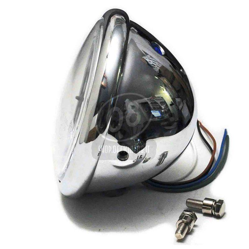 Halogen headlight 5.3/4'' Bates chrome - Pictures 3
