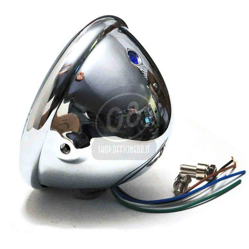 Halogen headlight 5.3/4'' Bates chrome - Pictures 2