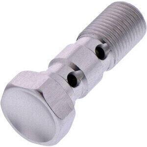 Banjo bolt M10x1.25 double flared head alloy grey
