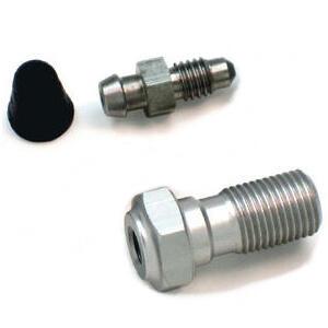 Bullone forato M10x1 singolo alluminio grigio con spurgo grigio e cappuggio