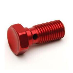 Bullone forato M10x1 singolo testa svasata alluminio rosso