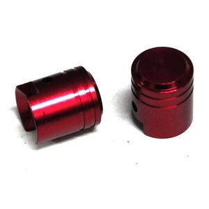 Tire valve stem caps piston shape red pair