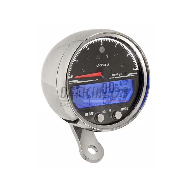 Electronic multifunction gauge AceWell Sport 4353 6K chrome