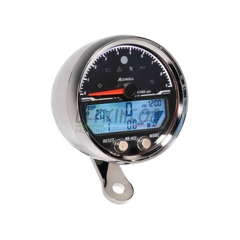 Electronic multifunction gauge AceWell Sport 4453 9K chrome