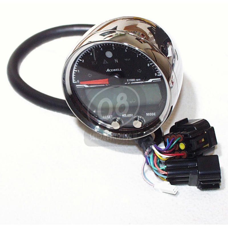 Electronic multifunction gauge AceWell Sport 4453 9K chrome - Pictures 4