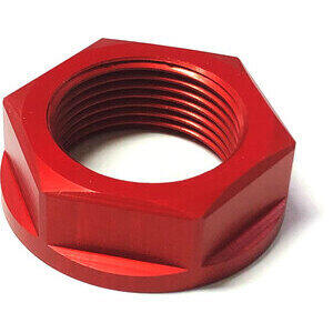 Steering head nut M25x1 alloy red