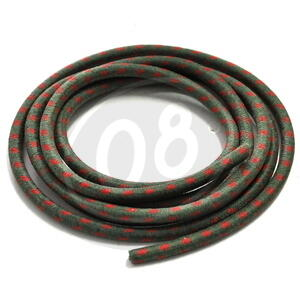 Ignition lead cable 7mm cotton braided green/red