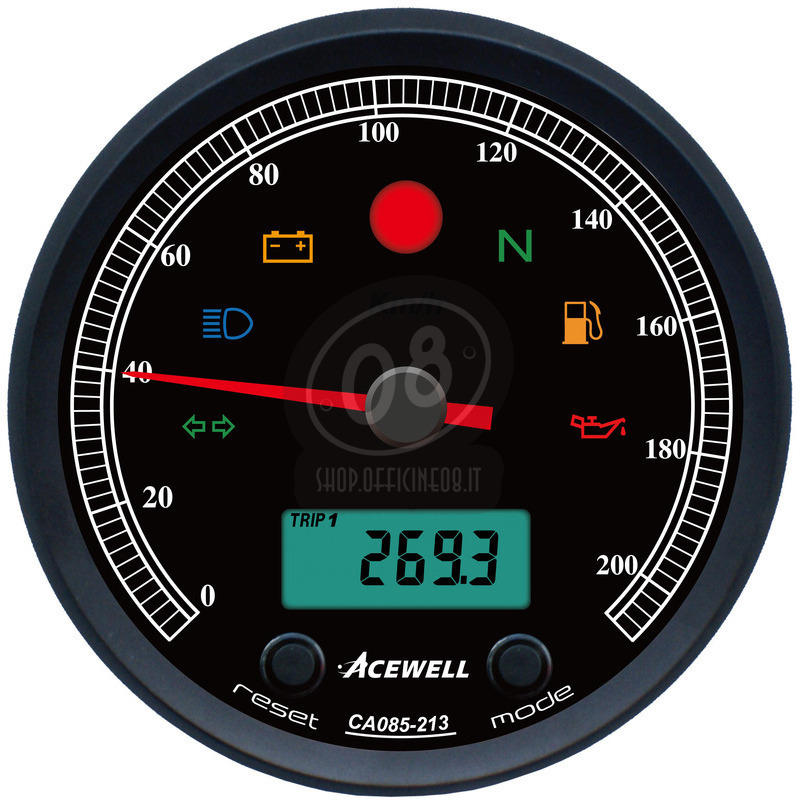 Electronic multifunction gauge AceWell Classic 213-AS 200Km/h black - Pictures 2