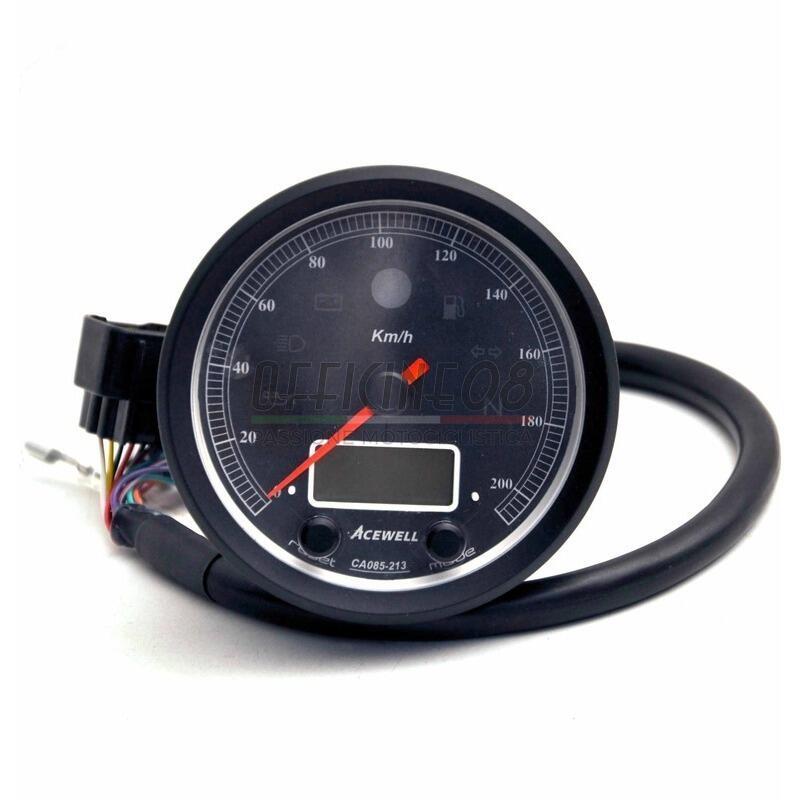 Ectronic multifunction gauge AceWell Classic 213-AS 200Km/h black
