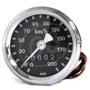 Contachilometri meccanico MMB Sport mini K=1.4 M12 corpo cromo fondo nero