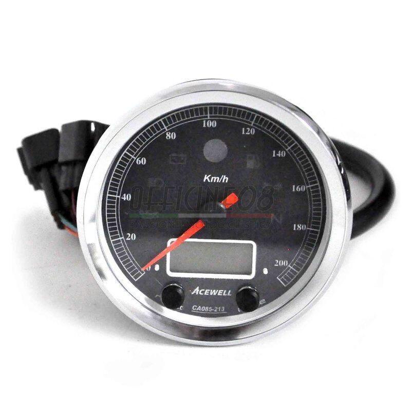 Ectronic multifunction gauge AceWell Classic 213-AC 200Km/h bezel chrome dial black