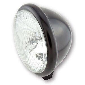 Halogen headlight 5.3/4'' Bates black matt lens pattern