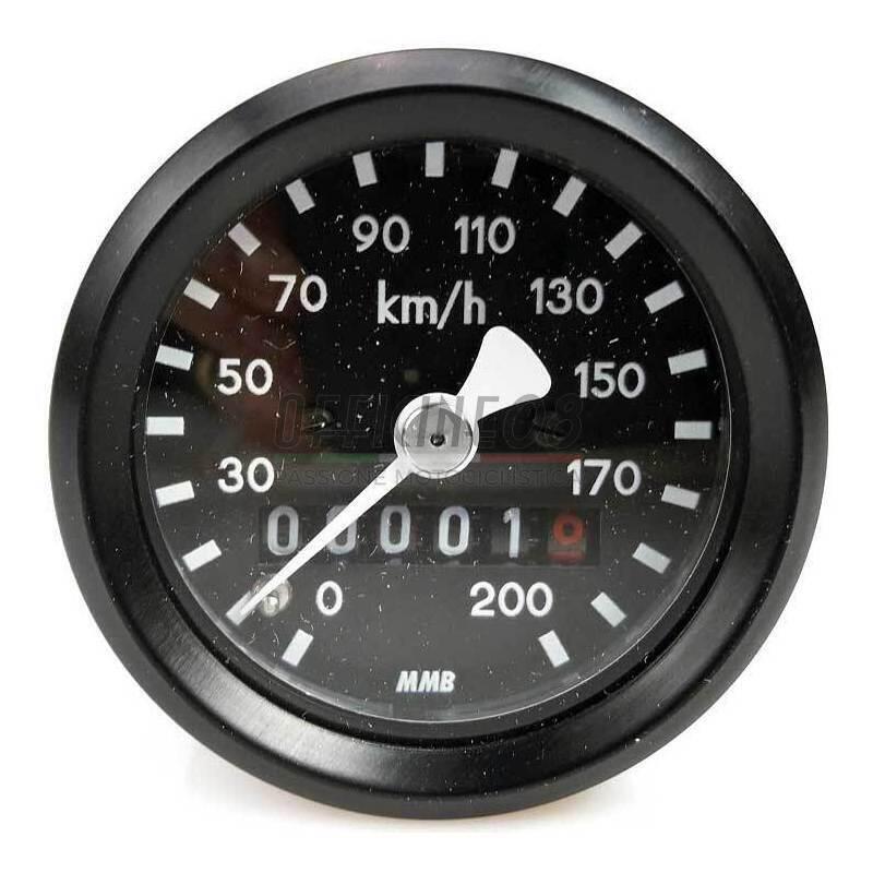 Contachilometri meccanico MMB Sport mini K=0.7 M18 corpo nero fondo nero