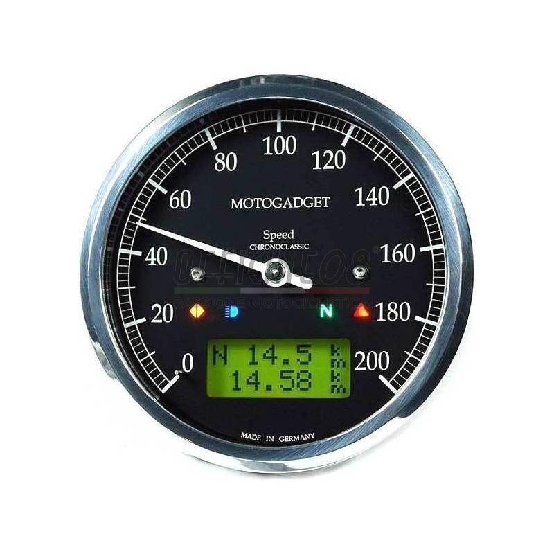 Ectronic multifunction gauge Motogadget ChronoClassic Speedo 200Km/h