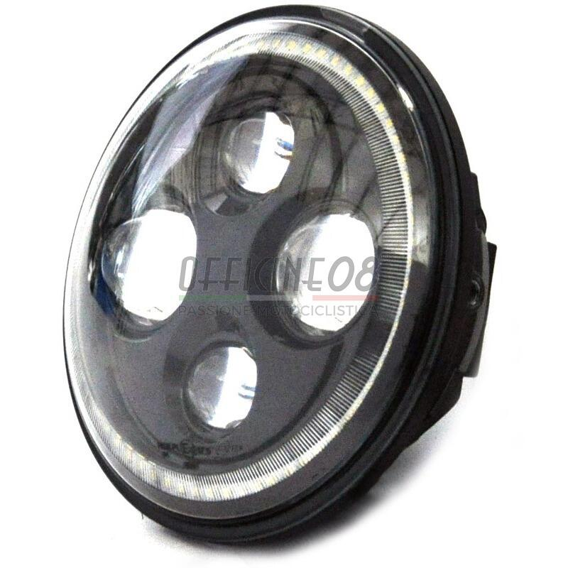 Full Led Headlight Insert 7'' Cafe Racer Black