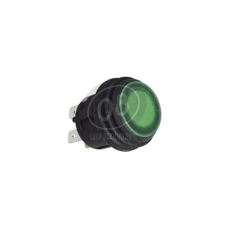 Interruttore a pressione on-off 20mm illuminato verde