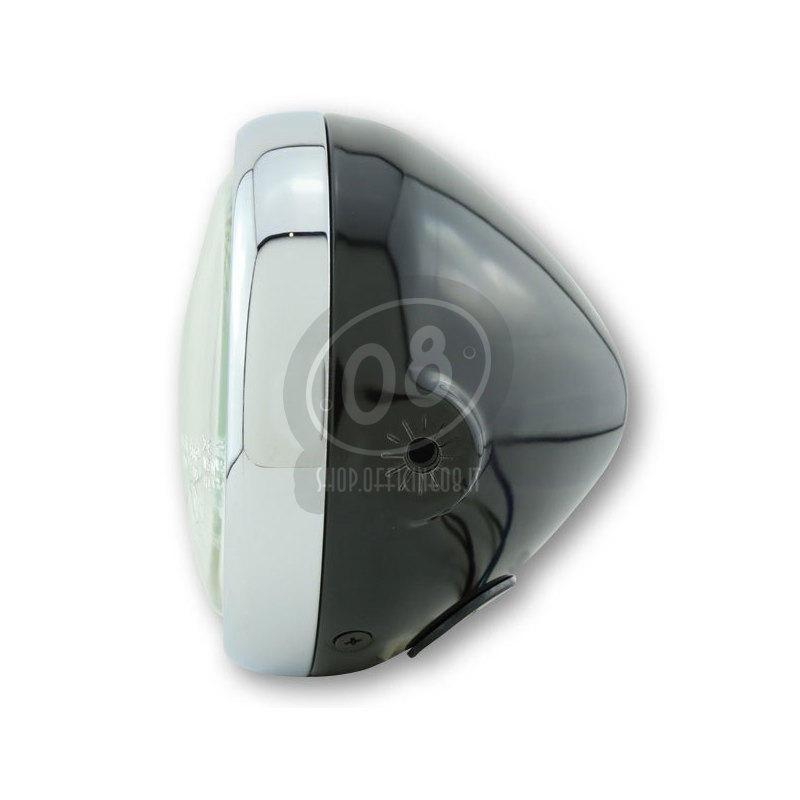 Halogen headlight 5.3/4'' Modern black rim chrome - Pictures 2