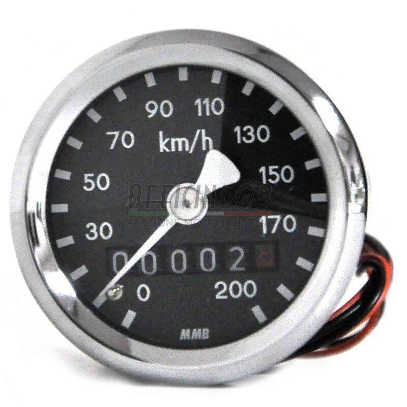 Contachilometri meccanico MMB Sport mini K=0.7 M18 corpo cromo fondo nero