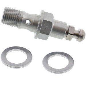 Bullone forato M10x1.25 singolo alluminio grigio con spurgo grigio