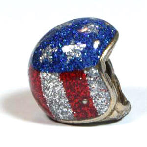 Keyholder pendant helmet American Flag metal flake
