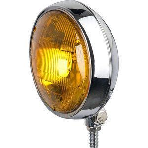 Faro anteriore 5.3/4'' alogeno attacco basso cromo lente rigata gialla