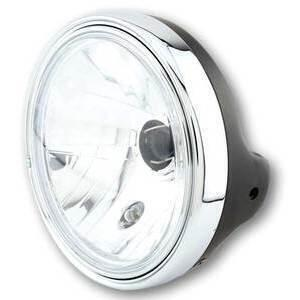 Halogen headlight 7'' Lucas clear lens black matt rim chrome