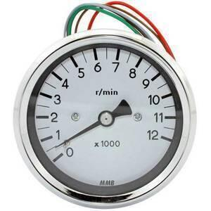 Electronic tachometer MMB Old Style 12K 2:1 body chrome dial white
