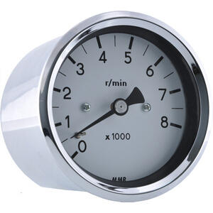 Electronic tachometer MMB Old Style 8K 2:1 body chrome dial white