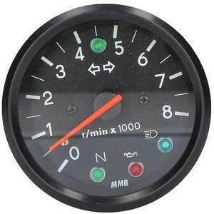 Electronic tachometer MMB Old Style 8K 2:1 control lights body black dial black