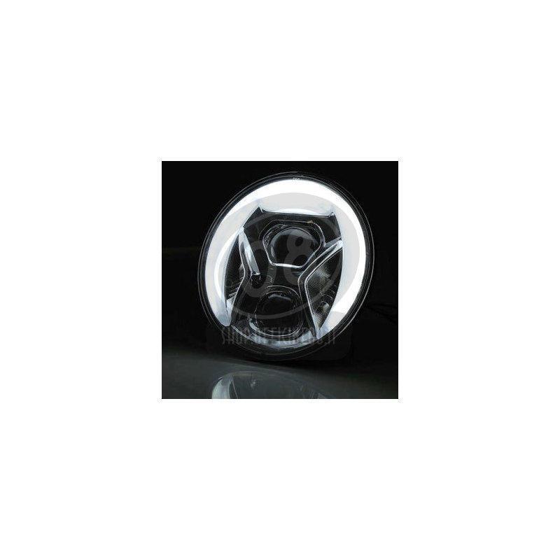 Full led headlight 7'' Highsider Lucas Type8 chromed - Pictures 3