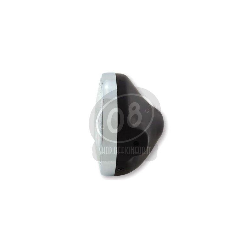 Faro anteriore 7'' Lucas alogeno lente rigata nero opaco ghiera cromo - Foto 2