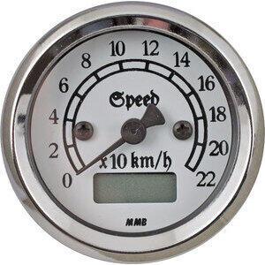 Contachilometri elettronico MMB Retro corpo cromo fondo bianco
