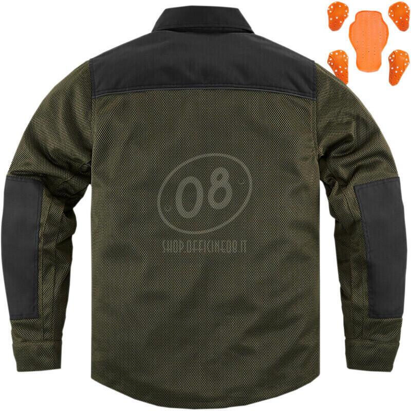 Camicia moto Icon Upstate verde scuro/nero - Foto 11